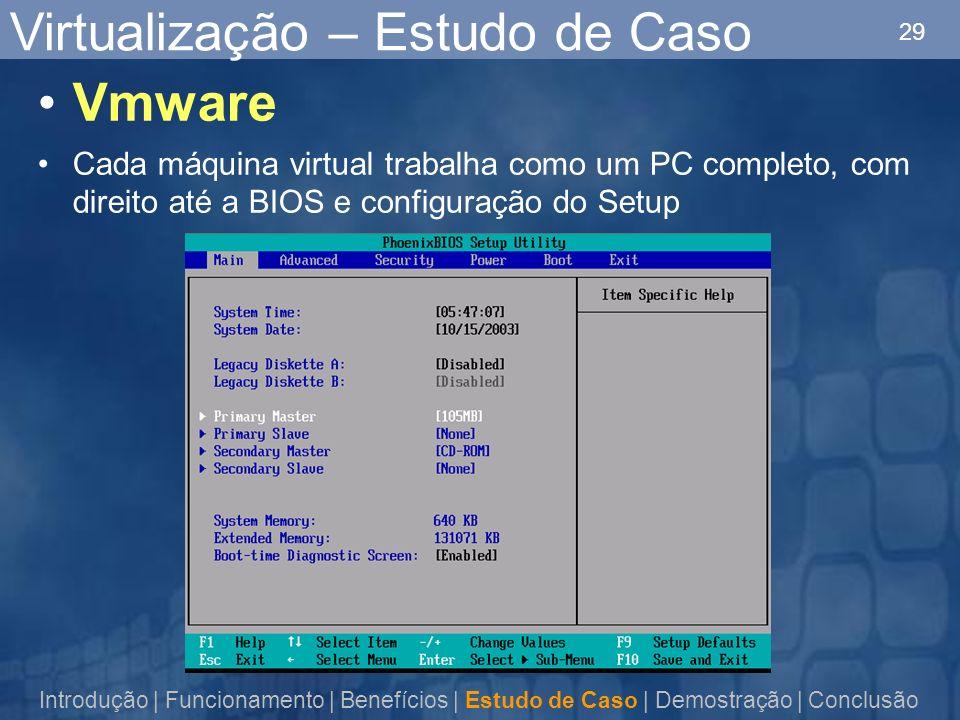 29 Virtualização – Estudo de Caso Introdução | Funcionamento | Benefícios | Estudo de Caso | Demostração | Conclusão Vmware Cada máquina virtual trabalha como um PC completo, com direito até a BIOS e configuração do Setup