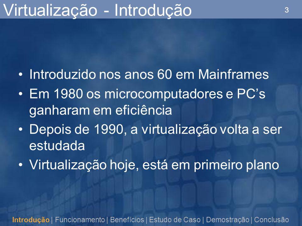 3 Virtualização - Introdução Introdução | Funcionamento | Benefícios | Estudo de Caso | Demostração | Conclusão Introduzido nos anos 60 em Mainframes Em 1980 os microcomputadores e PCs ganharam em eficiência Depois de 1990, a virtualização volta a ser estudada Virtualização hoje, está em primeiro plano