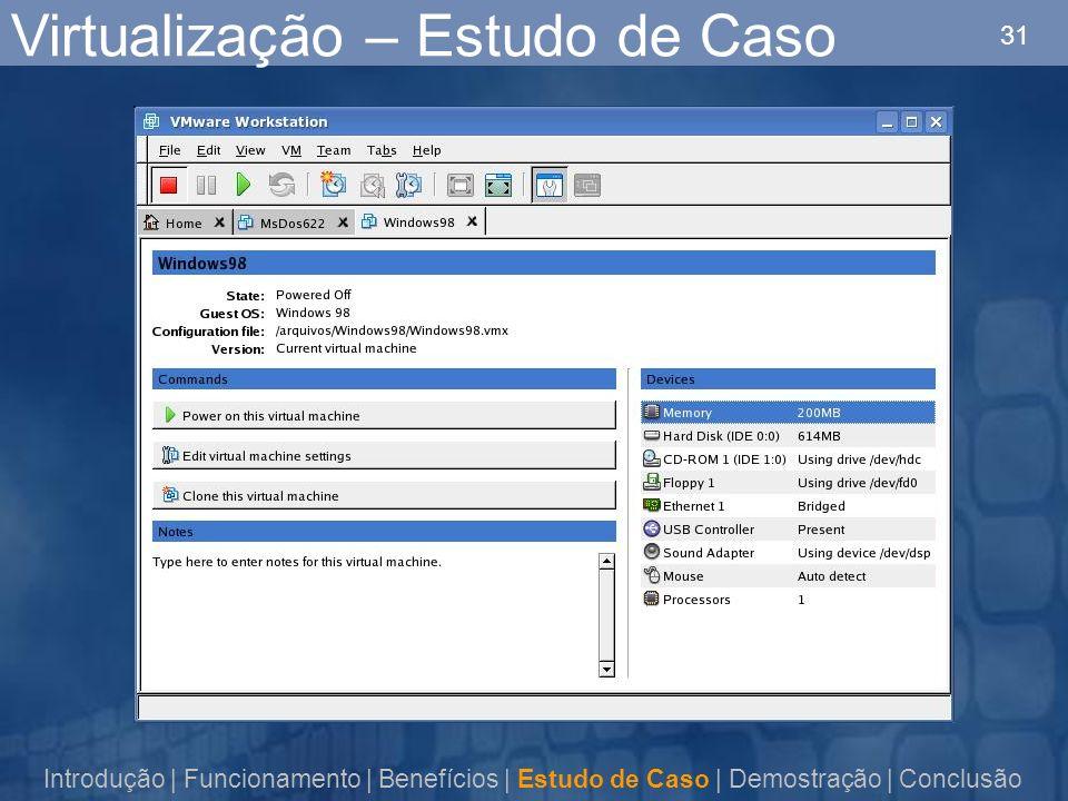 31 Virtualização – Estudo de Caso Introdução | Funcionamento | Benefícios | Estudo de Caso | Demostração | Conclusão
