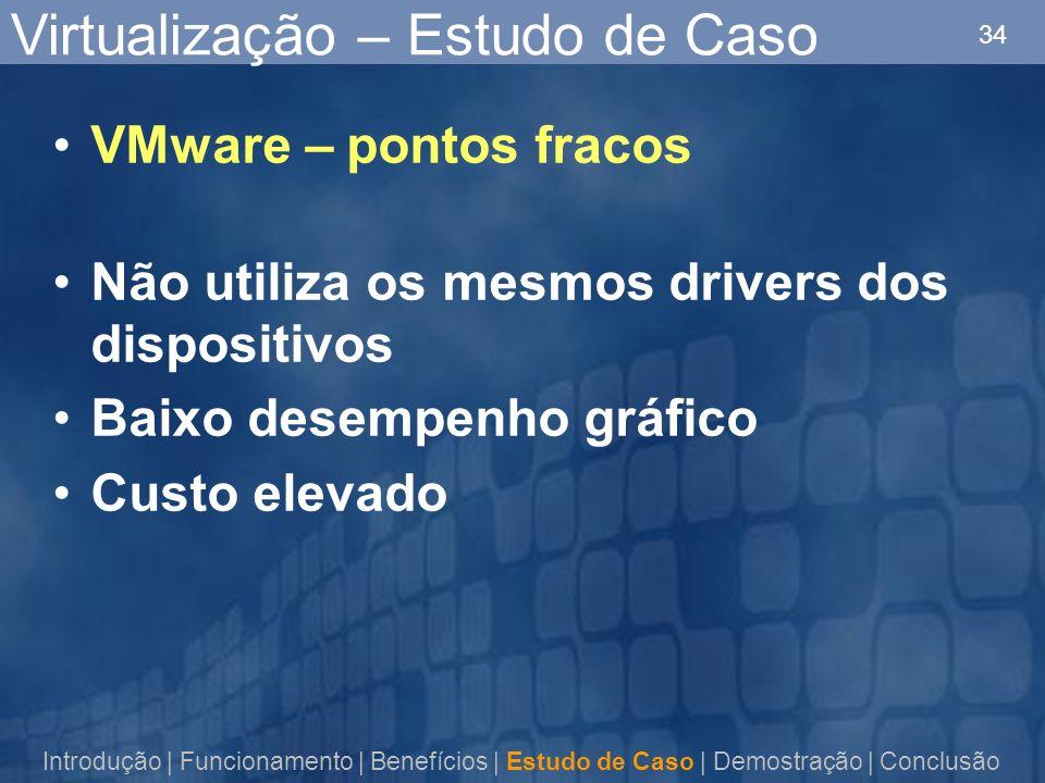 34 Virtualização – Estudo de Caso VMware – pontos fracos Não utiliza os mesmos drivers dos dispositivos Baixo desempenho gráfico Custo elevado Introdu