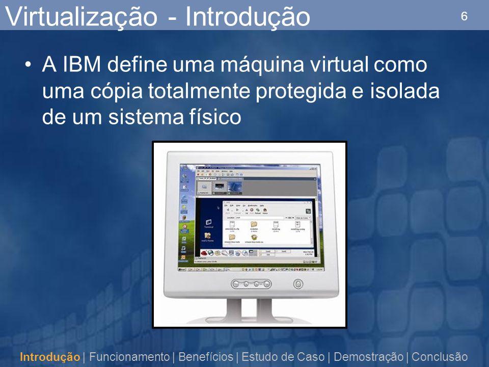 6 Virtualização - Introdução A IBM define uma máquina virtual como uma cópia totalmente protegida e isolada de um sistema físico Introdução | Funcionamento | Benefícios | Estudo de Caso | Demostração | Conclusão