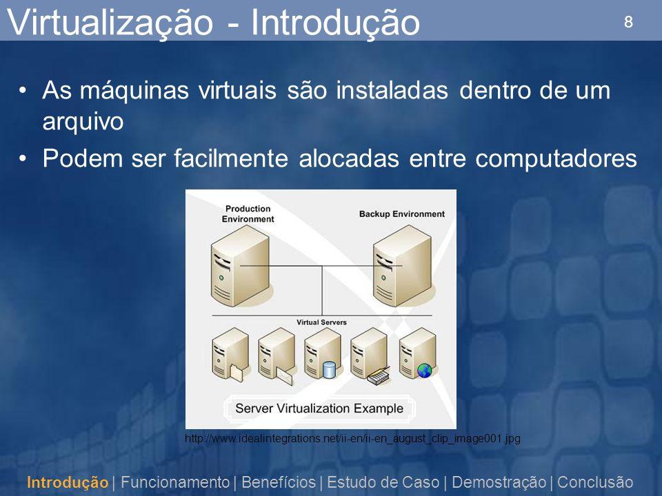 8 Virtualização - Introdução As máquinas virtuais são instaladas dentro de um arquivo Podem ser facilmente alocadas entre computadores Introdução | Funcionamento | Benefícios | Estudo de Caso | Demostração | Conclusão http://www.idealintegrations.net/ii-en/ii-en_august_clip_image001.jpg