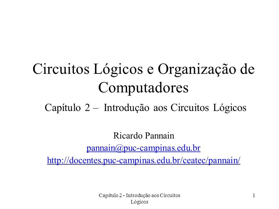 Capítulo 2 - Introdução aos Circuitos Lógicos 1 Circuitos Lógicos e Organização de Computadores Capítulo 2 – Introdução aos Circuitos Lógicos Ricardo