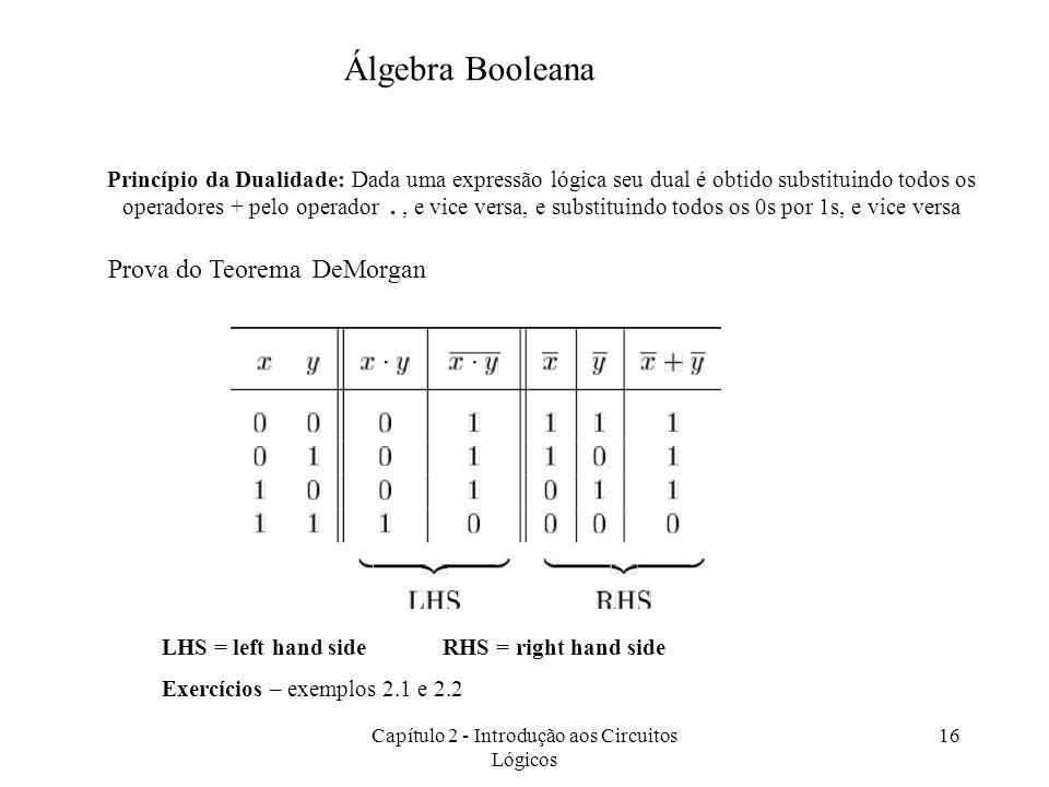Capítulo 2 - Introdução aos Circuitos Lógicos 16 Prova do Teorema DeMorgan Princípio da Dualidade: Dada uma expressão lógica seu dual é obtido substit