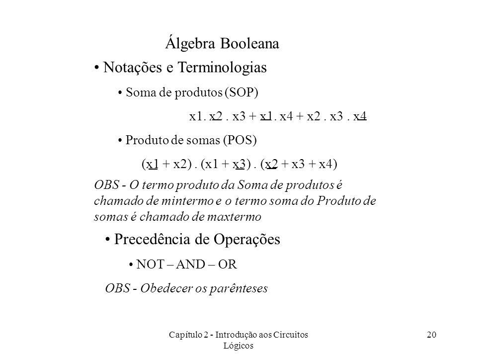 Capítulo 2 - Introdução aos Circuitos Lógicos 20 Notações e Terminologias Soma de produtos (SOP) x1. x2. x3 + x1. x4 + x2. x3. x4 Produto de somas (PO