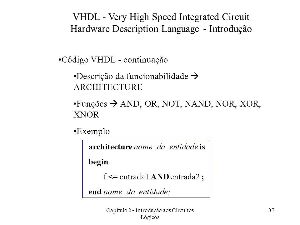 Capítulo 2 - Introdução aos Circuitos Lógicos 37 VHDL - Very High Speed Integrated Circuit Hardware Description Language - Introdução Código VHDL - co