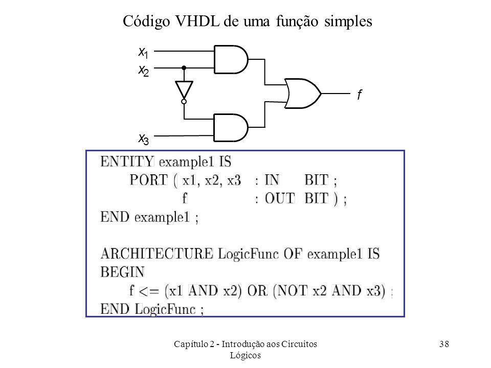 Capítulo 2 - Introdução aos Circuitos Lógicos 38 Código VHDL de uma função simples f x 3 x 1 x 2