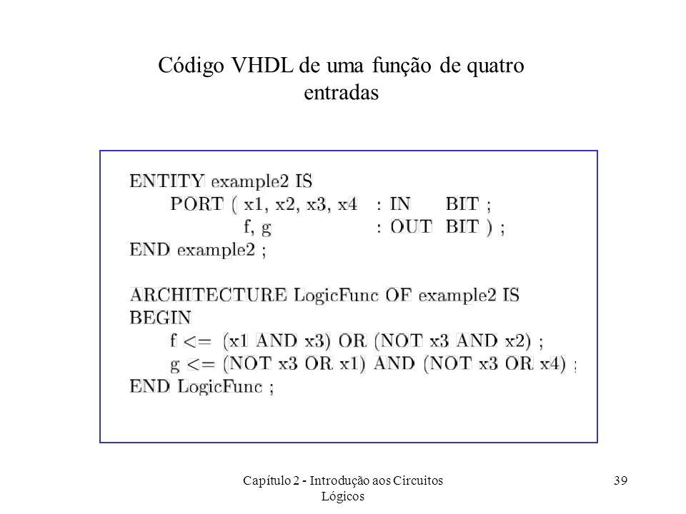 Capítulo 2 - Introdução aos Circuitos Lógicos 39 Código VHDL de uma função de quatro entradas