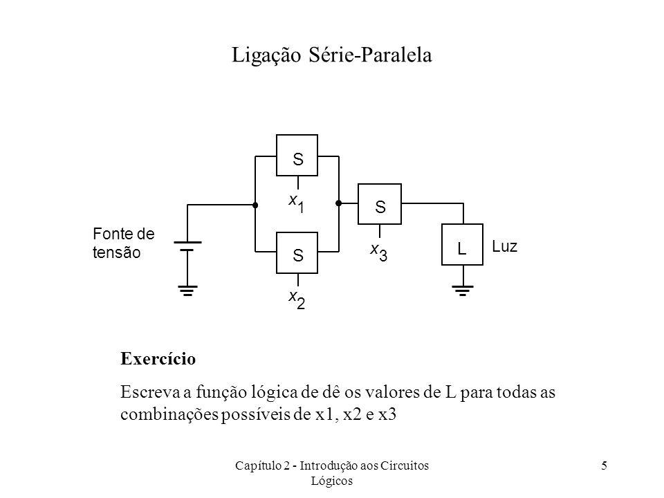 Capítulo 2 - Introdução aos Circuitos Lógicos 5 S x 1 L S x 2 Luz S x 3 Fonte de tensão Ligação Série-Paralela Exercício Escreva a função lógica de dê