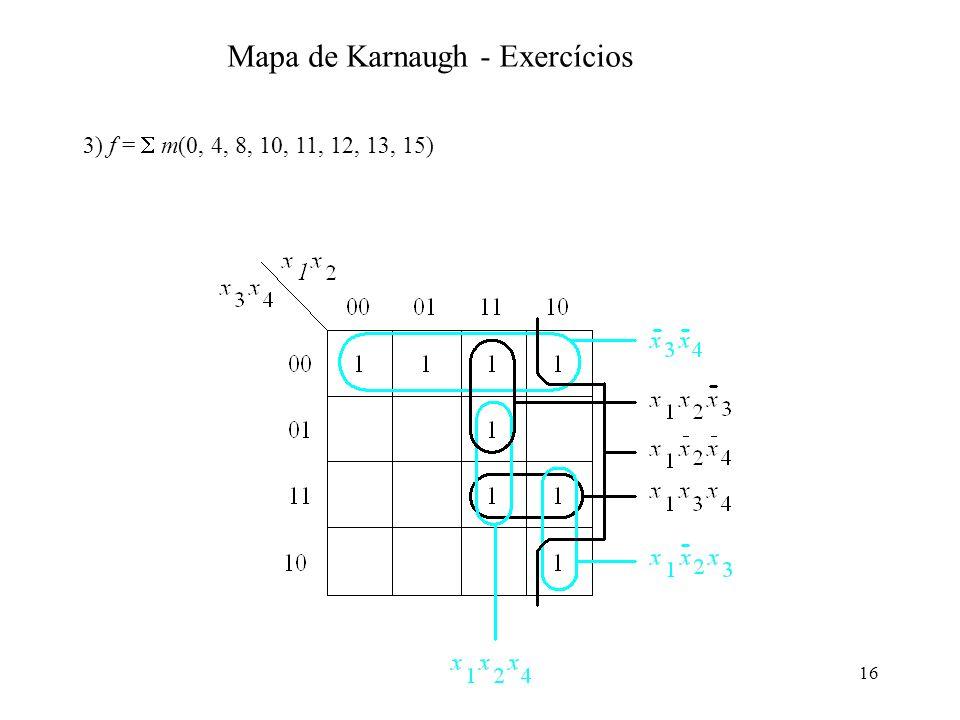 16 3) f = m(0, 4, 8, 10, 11, 12, 13, 15) Mapa de Karnaugh - Exercícios