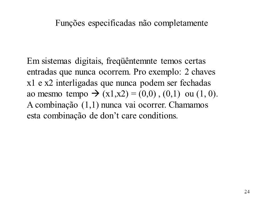 24 Funções especificadas não completamente Em sistemas digitais, freqüêntemnte temos certas entradas que nunca ocorrem. Pro exemplo: 2 chaves x1 e x2