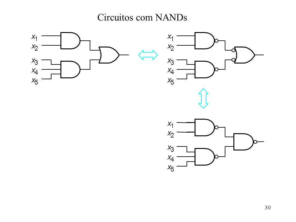 30 x 1 x 2 x 3 x 4 x 5 x 1 x 2 x 3 x 4 x 5 x 1 x 2 x 3 x 4 x 5 Circuitos com NANDs
