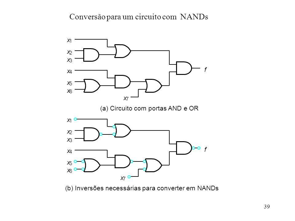 39 Conversão para um circuito com NANDs
