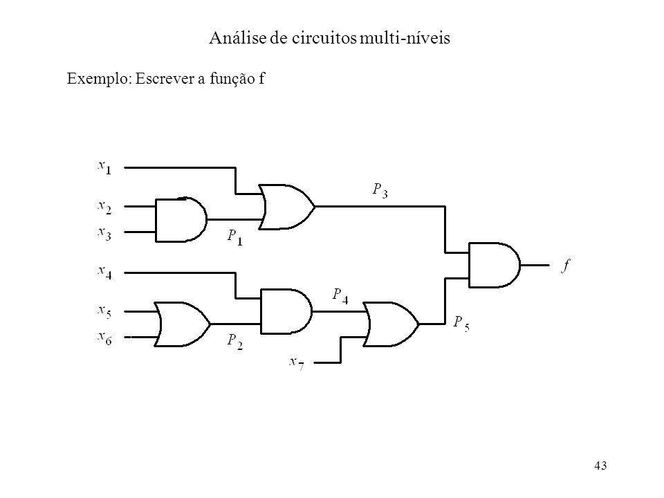 43 Análise de circuitos multi-níveis Exemplo: Escrever a função f