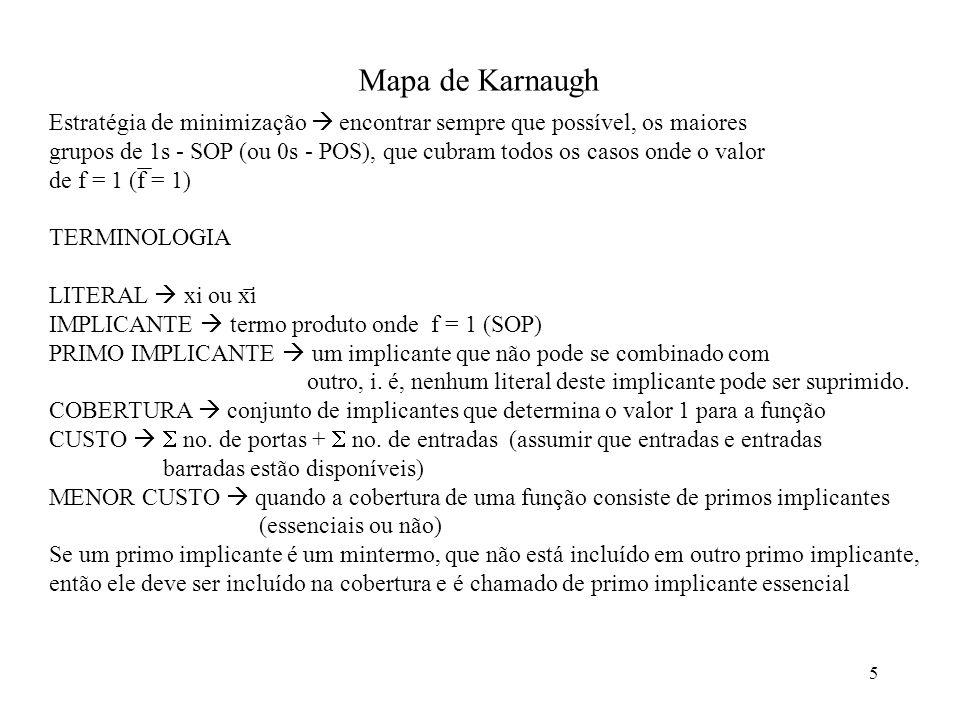5 Mapa de Karnaugh Estratégia de minimização encontrar sempre que possível, os maiores grupos de 1s - SOP (ou 0s - POS), que cubram todos os casos ond