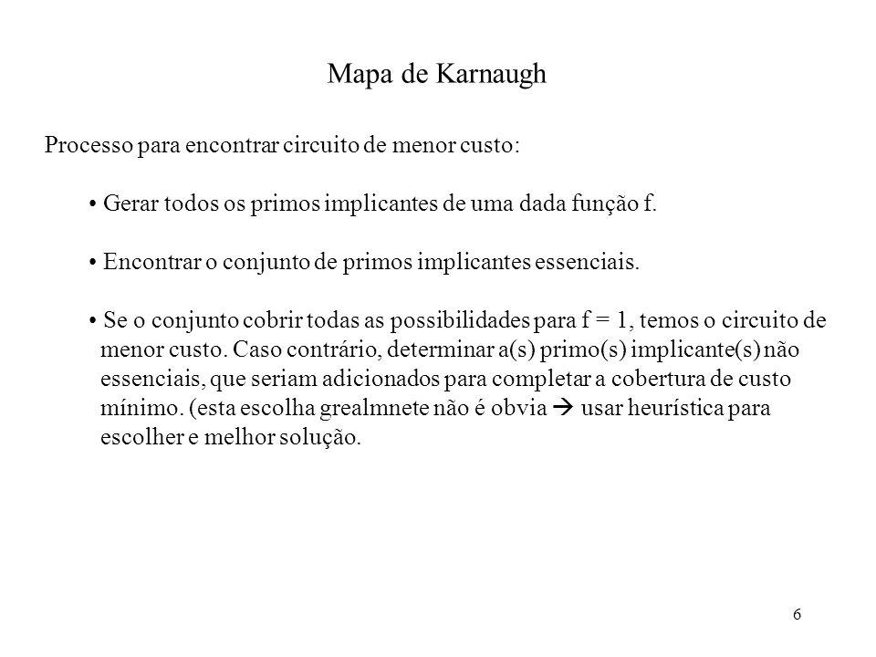 6 Mapa de Karnaugh Processo para encontrar circuito de menor custo: Gerar todos os primos implicantes de uma dada função f. Encontrar o conjunto de pr