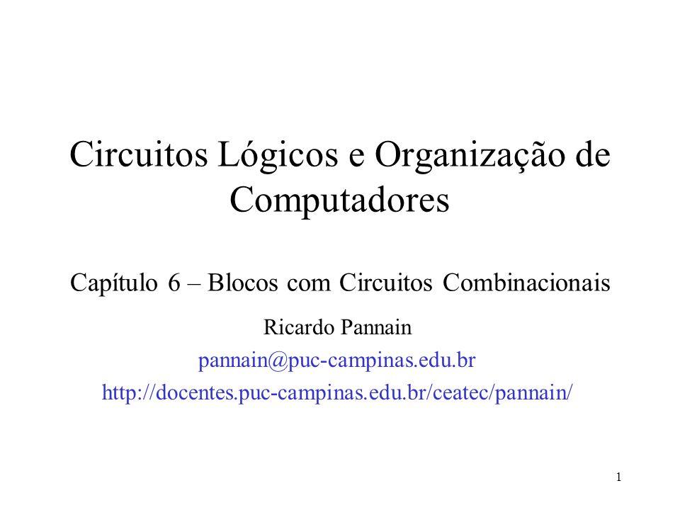 1 Circuitos Lógicos e Organização de Computadores Capítulo 6 – Blocos com Circuitos Combinacionais Ricardo Pannain pannain@puc-campinas.edu.br http://