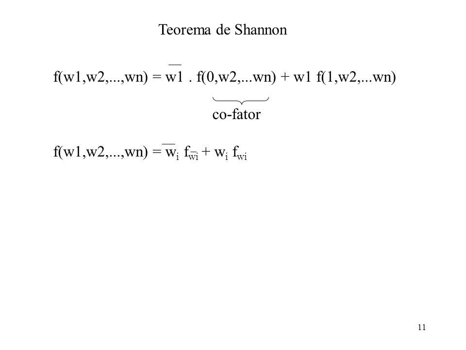 11 Teorema de Shannon f(w1,w2,...,wn) = w1. f(0,w2,...wn) + w1 f(1,w2,...wn) co-fator f(w1,w2,...,wn) = w i f wi + w i f wi