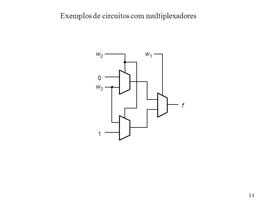 14 w 2 0 w 3 1 f w 1 Exemplos de circuitos com multiplexadores
