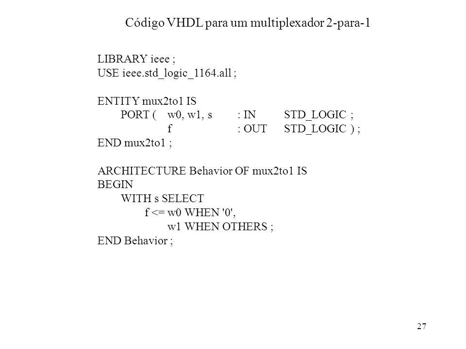 27 Código VHDL para um multiplexador 2-para-1 LIBRARY ieee ; USE ieee.std_logic_1164.all ; ENTITY mux2to1 IS PORT (w0, w1, s: IN STD_LOGIC ; f: OUT ST