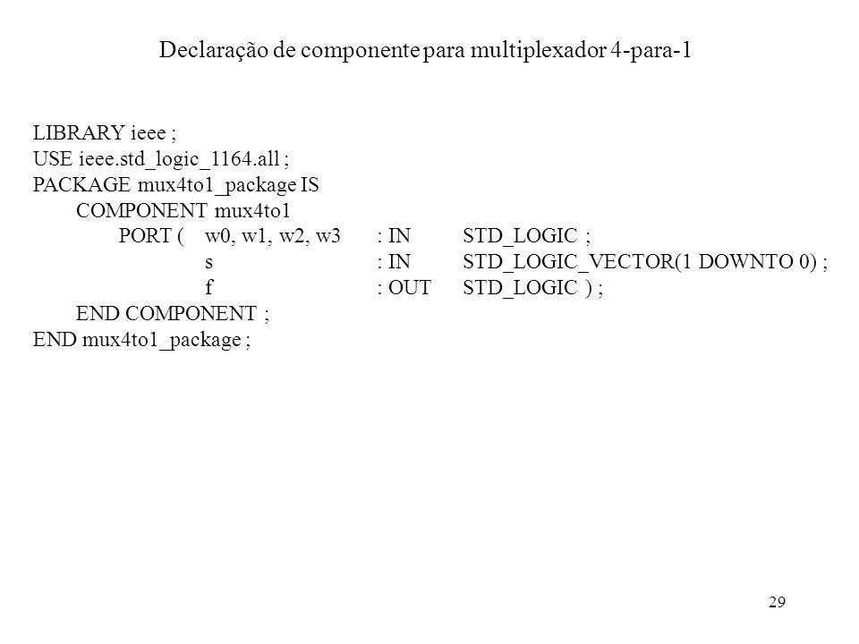 29 Declaração de componente para multiplexador 4-para-1 LIBRARY ieee ; USE ieee.std_logic_1164.all ; PACKAGE mux4to1_package IS COMPONENT mux4to1 PORT