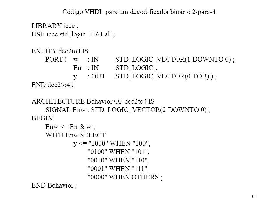 31 Código VHDL para um decodificador binário 2-para-4 LIBRARY ieee ; USE ieee.std_logic_1164.all ; ENTITY dec2to4 IS PORT (w: IN STD_LOGIC_VECTOR(1 DO