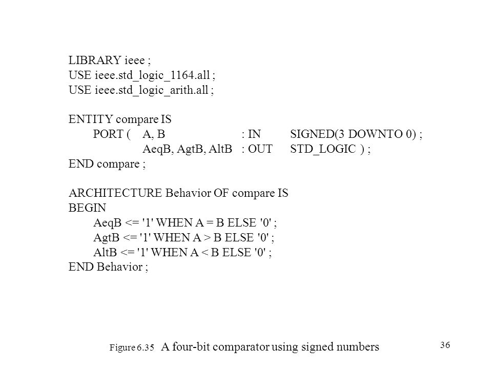 36 Figure 6.35 A four-bit comparator using signed numbers LIBRARY ieee ; USE ieee.std_logic_1164.all ; USE ieee.std_logic_arith.all ; ENTITY compare I