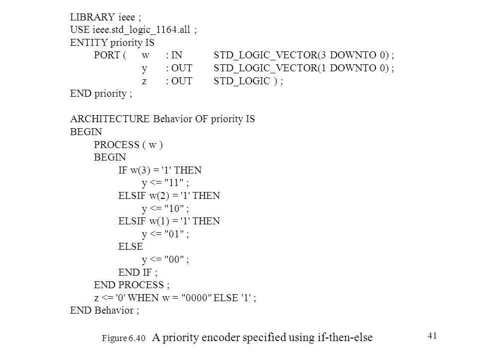 41 Figure 6.40 A priority encoder specified using if-then-else LIBRARY ieee ; USE ieee.std_logic_1164.all ; ENTITY priority IS PORT (w : IN STD_LOGIC_