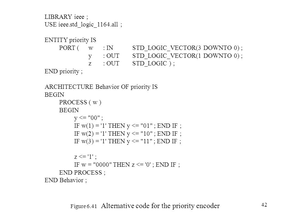 42 Figure 6.41 Alternative code for the priority encoder LIBRARY ieee ; USE ieee.std_logic_1164.all ; ENTITY priority IS PORT (w : IN STD_LOGIC_VECTOR