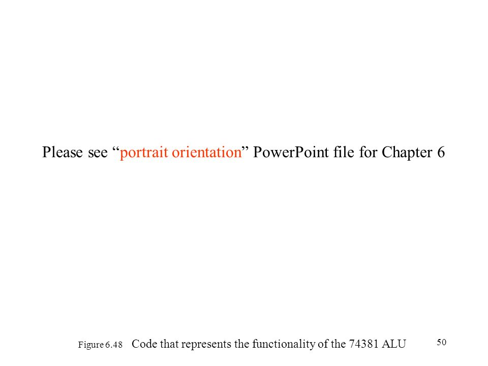 50 Figure 6.48 Code that represents the functionality of the 74381 ALU Please see portrait orientation PowerPoint file for Chapter 6