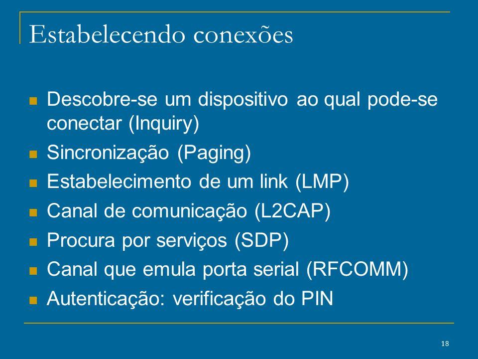 18 Estabelecendo conexões Descobre-se um dispositivo ao qual pode-se conectar (Inquiry) Sincronização (Paging) Estabelecimento de um link (LMP) Canal