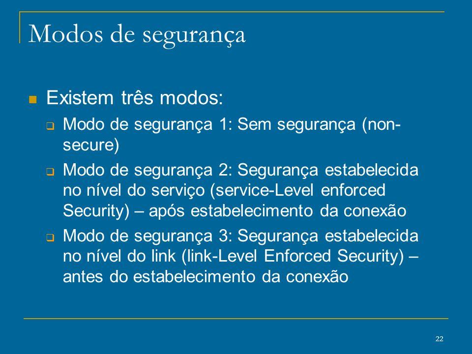 22 Modos de segurança Existem três modos: Modo de segurança 1: Sem segurança (non- secure) Modo de segurança 2: Segurança estabelecida no nível do ser