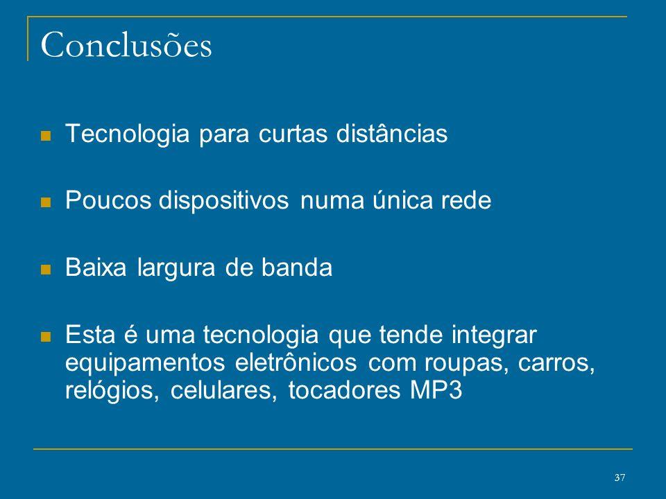 37 Conclusões Tecnologia para curtas distâncias Poucos dispositivos numa única rede Baixa largura de banda Esta é uma tecnologia que tende integrar eq