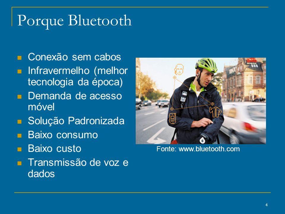 4 Porque Bluetooth Conexão sem cabos Infravermelho (melhor tecnologia da época) Demanda de acesso móvel Solução Padronizada Baixo consumo Baixo custo