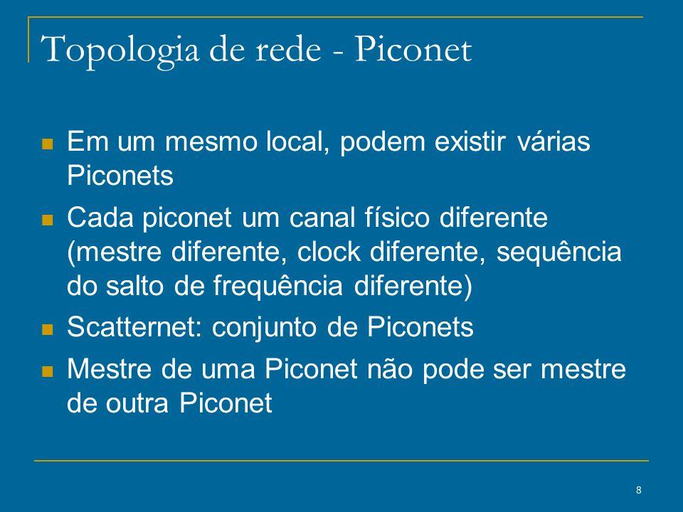 8 Topologia de rede - Piconet Em um mesmo local, podem existir várias Piconets Cada piconet um canal físico diferente (mestre diferente, clock diferen
