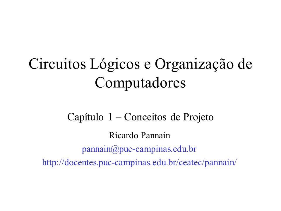 Circuitos Lógicos e Organização de Computadores Capítulo 1 – Conceitos de Projeto Ricardo Pannain pannain@puc-campinas.edu.br http://docentes.puc-camp