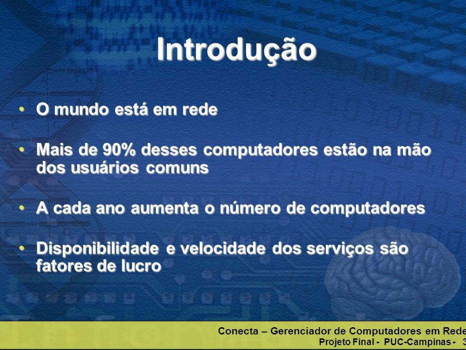 Conecta – Gerenciador de Computadores em Rede Projeto Final - PUC-Campinas - 3 Introdução O mundo está em redeO mundo está em rede Mais de 90% desses