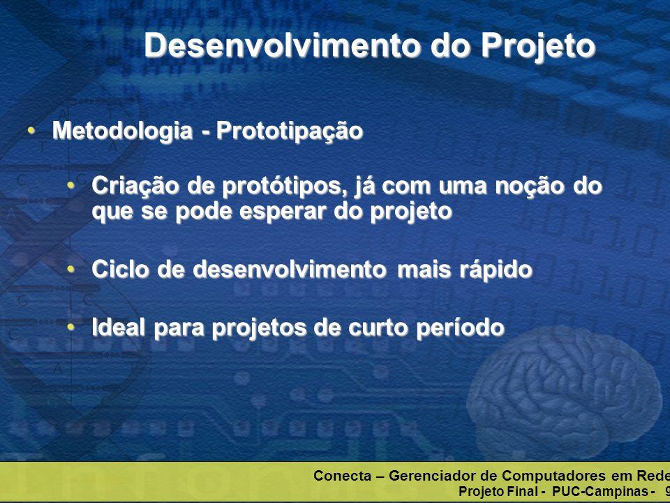 Conecta – Gerenciador de Computadores em Rede Projeto Final - PUC-Campinas - 9 Desenvolvimento do Projeto Metodologia - PrototipaçãoMetodologia - Prot