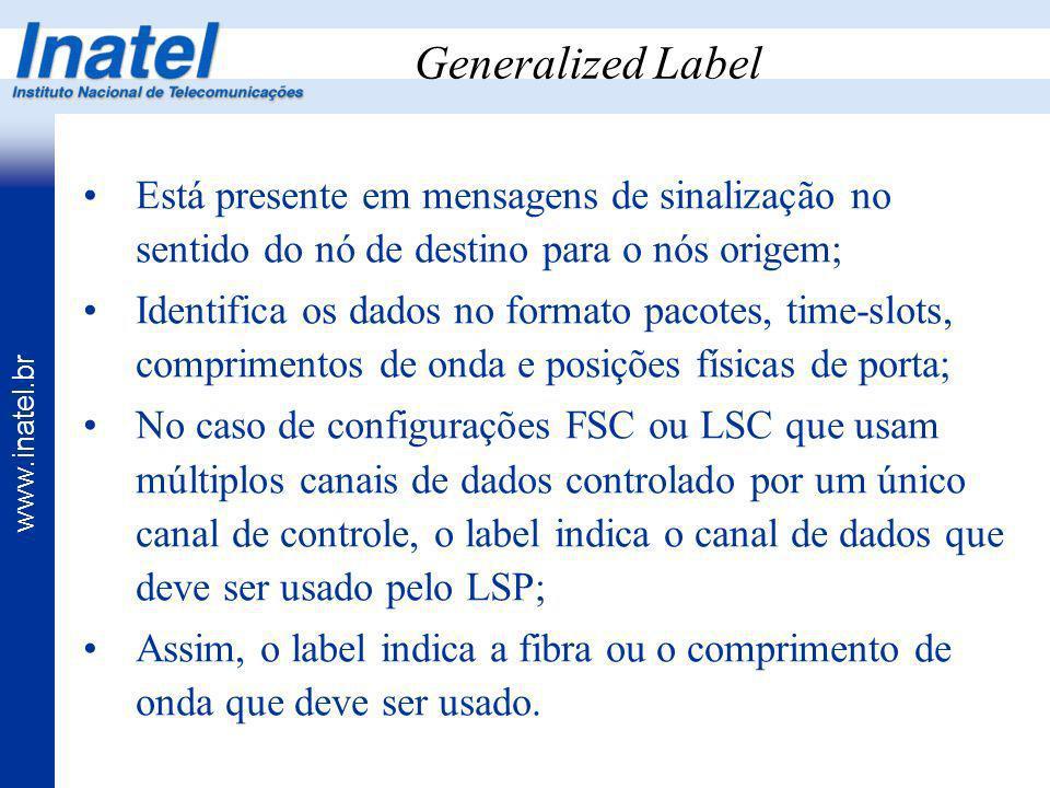 www.inatel.br Generalized Label Está presente em mensagens de sinalização no sentido do nó de destino para o nós origem; Identifica os dados no format