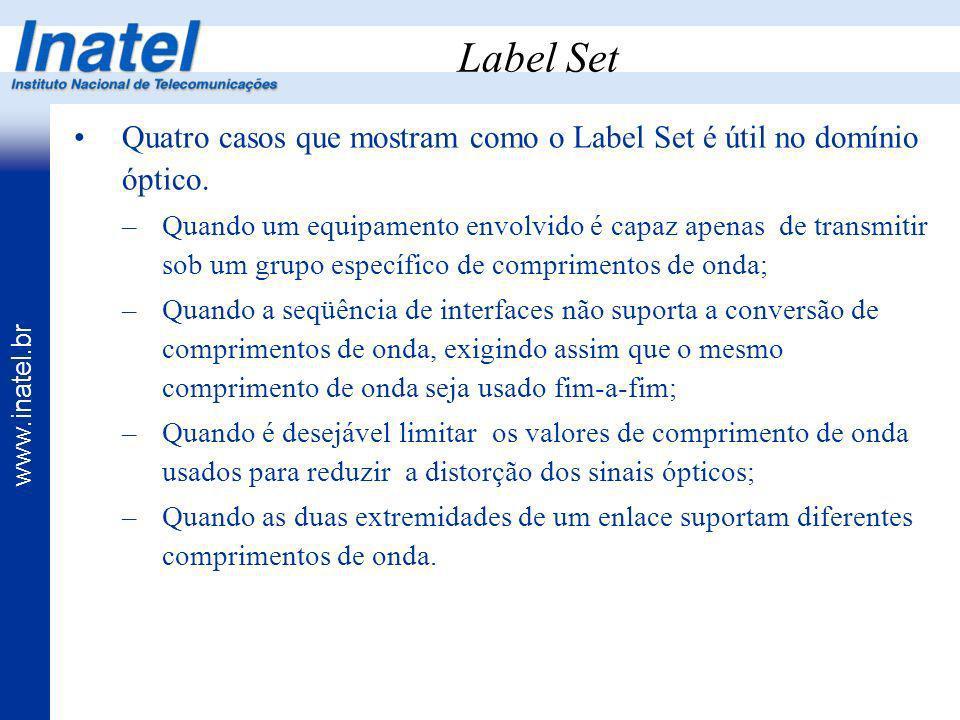 www.inatel.br Label Set Quatro casos que mostram como o Label Set é útil no domínio óptico. –Quando um equipamento envolvido é capaz apenas de transmi