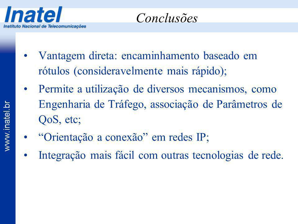 www.inatel.br Conclusões Vantagem direta: encaminhamento baseado em rótulos (consideravelmente mais rápido); Permite a utilização de diversos mecanism