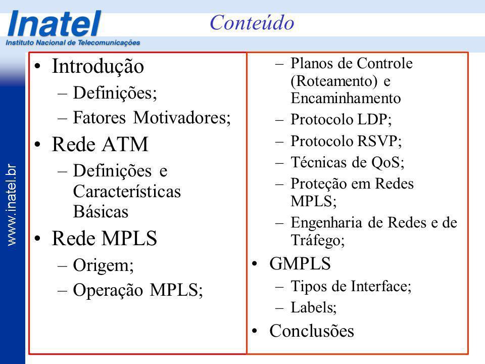 www.inatel.br Introdução –Definições; –Fatores Motivadores; Rede ATM –Definições e Características Básicas Rede MPLS –Origem; –Operação MPLS; –Planos