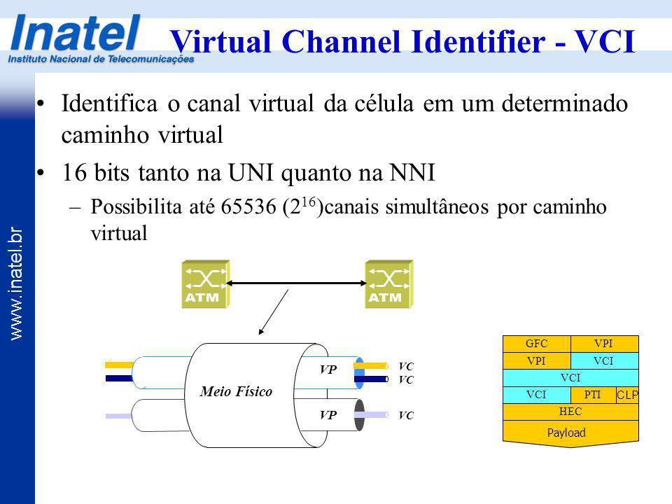 www.inatel.br Virtual Channel Identifier - VCI Identifica o canal virtual da célula em um determinado caminho virtual 16 bits tanto na UNI quanto na N