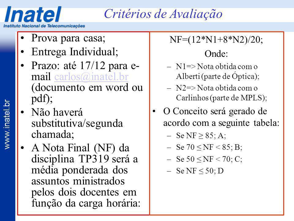 www.inatel.br Prova para casa; Entrega Individual; Prazo: até 17/12 para e- mail carlos@inatel.br (documento em word ou pdf);carlos@inatel.br Não have