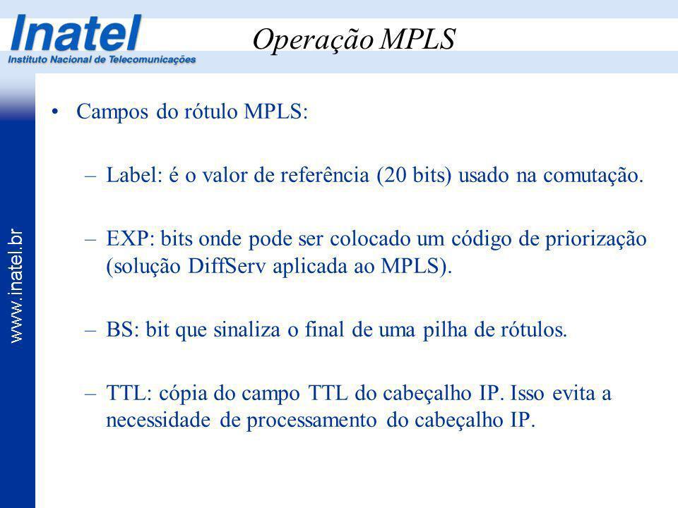 www.inatel.br Operação MPLS Campos do rótulo MPLS: –Label: é o valor de referência (20 bits) usado na comutação. –EXP: bits onde pode ser colocado um