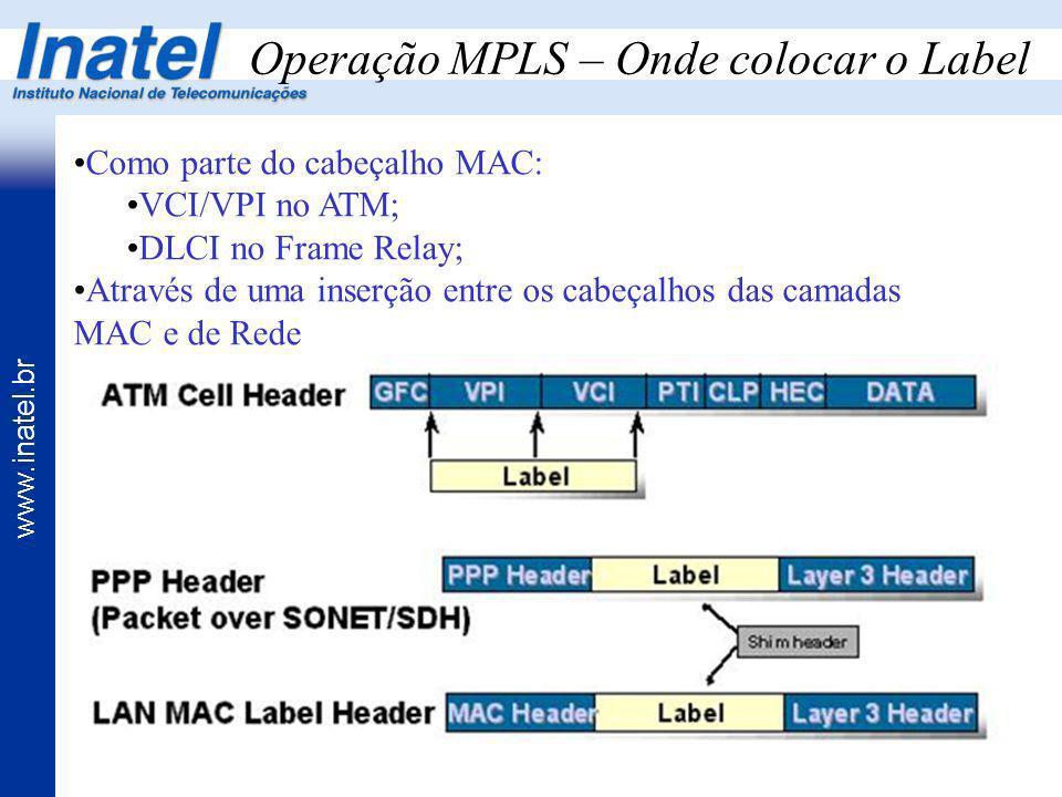 www.inatel.br Operação MPLS – Onde colocar o Label Como parte do cabeçalho MAC: VCI/VPI no ATM; DLCI no Frame Relay; Através de uma inserção entre os