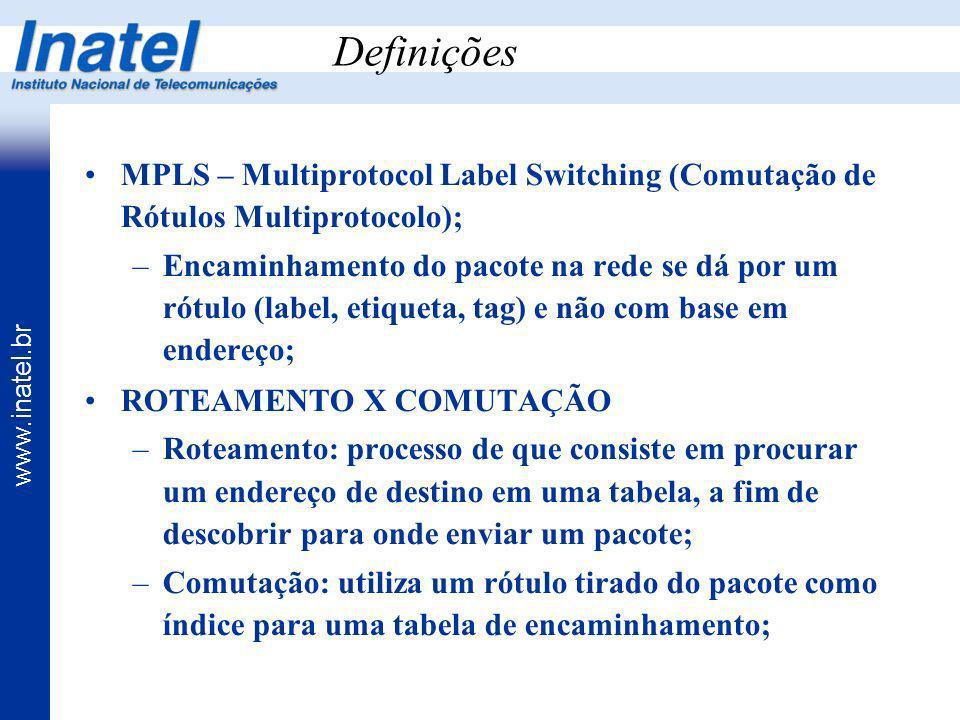 www.inatel.br Definições MPLS – Multiprotocol Label Switching (Comutação de Rótulos Multiprotocolo); –Encaminhamento do pacote na rede se dá por um ró