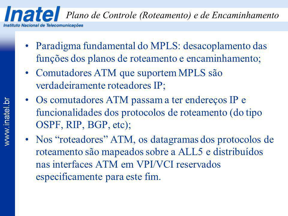 www.inatel.br Plano de Controle (Roteamento) e de Encaminhamento Paradigma fundamental do MPLS: desacoplamento das funções dos planos de roteamento e