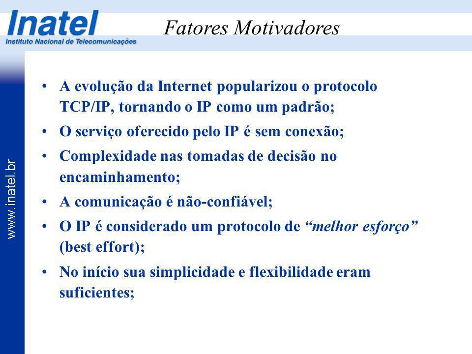 www.inatel.br Fatores Motivadores A evolução da Internet popularizou o protocolo TCP/IP, tornando o IP como um padrão; O serviço oferecido pelo IP é s