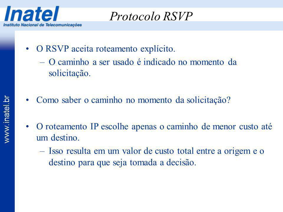 www.inatel.br Protocolo RSVP O RSVP aceita roteamento explícito. –O caminho a ser usado é indicado no momento da solicitação. Como saber o caminho no